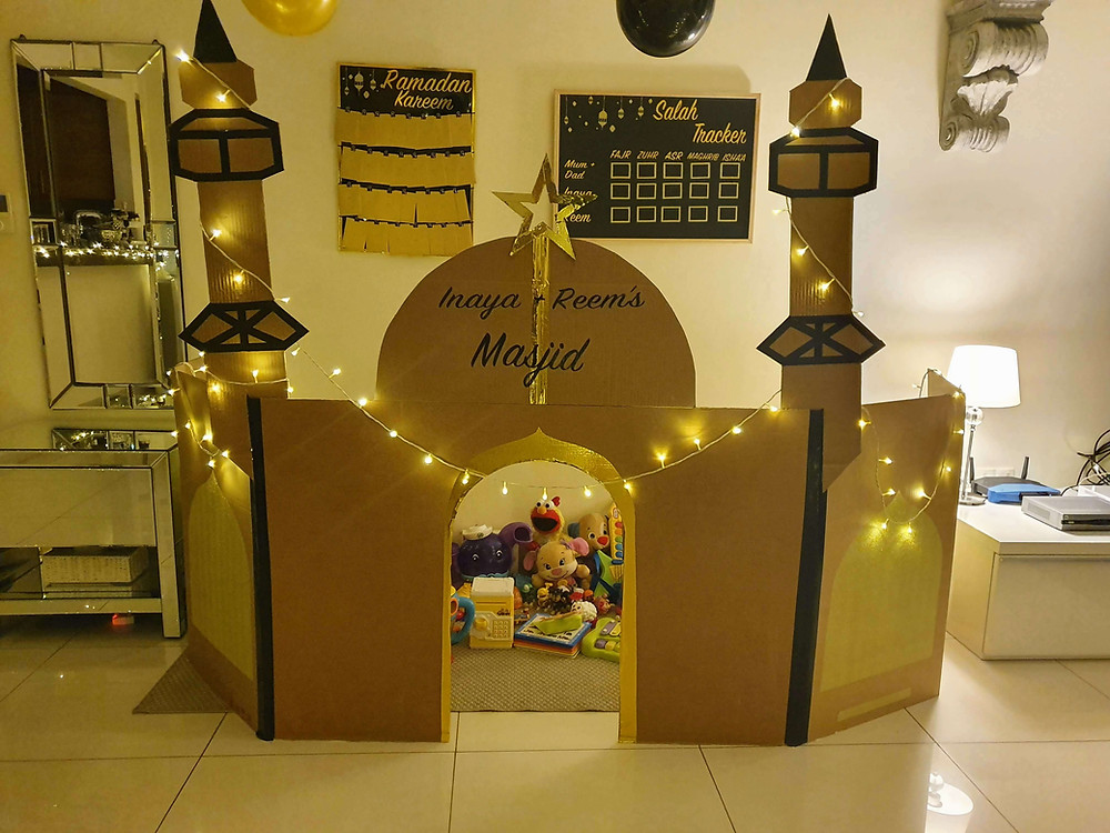 Gold and black Personalised Salah Tracker, Ramadan Advent Calendar, Children's Cardboard Mosque  with fairy lights