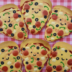 Pizza cookies! Very hard to work on surprise cookies for our intern when he's living with us for awh