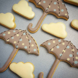 Baby shower cookies preview. More soon. Hoping these umbrella handles don't break! 😣_._._._._.jpg