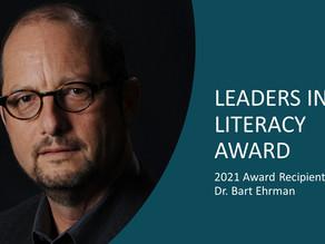 Announcing the 2021 Leaders in Literacy Award Winner: Dr. Bart Ehrman