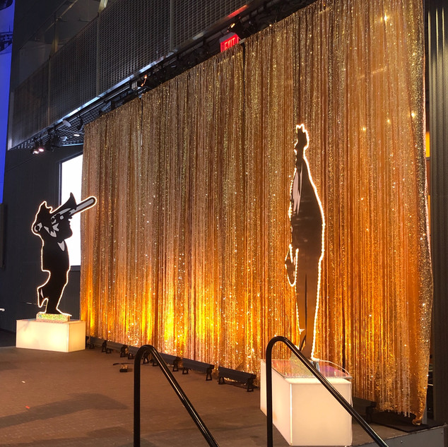 Gold sequined curtain with beade