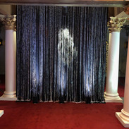 Black sequined curtain with beaded curtain