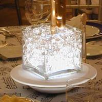 Lighted Glass Cube Centerpiece