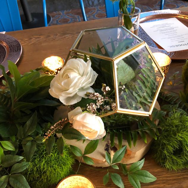 Custom floral terrarium
