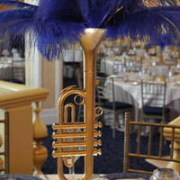 Lighted Jazz Trumpet Centerpiece with Feathers