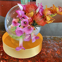 Lighted Floral Centerpiece with Calla Lilies and Orchids