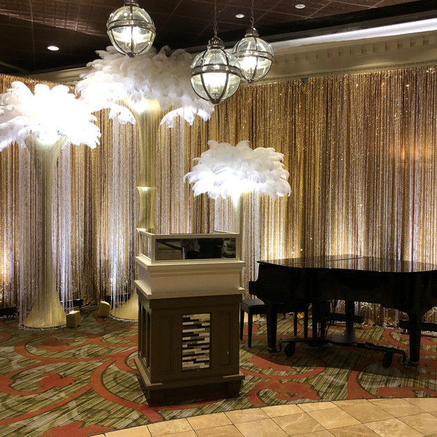 Champagne sequined curtain with beaded curtain