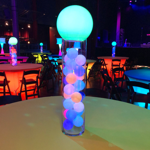 """12"""" Glow Ball atop 3"""" Glow all filled glass vase"""