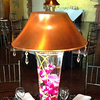 Lighted LampLite Lamp Centerpiece with Orchids and Crystals