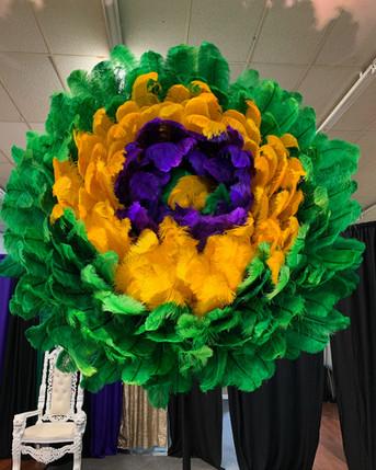 Mardi Gras Feather Flower