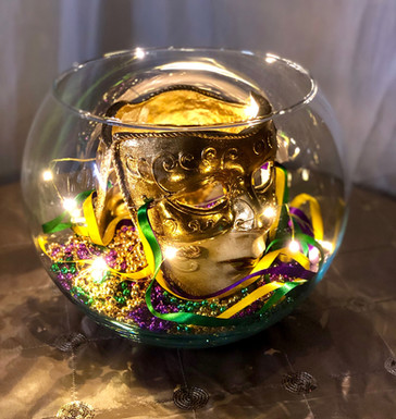 Bubble bowl with mardi gras masks, beads