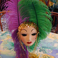 Lighted Feather Centerpiece with Masks