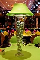 Lighted Feather Centerpiece with Venetian Masks