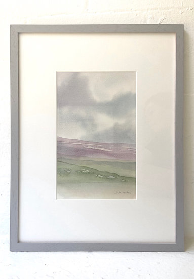 Heather on the Hillside. Watercolour painting