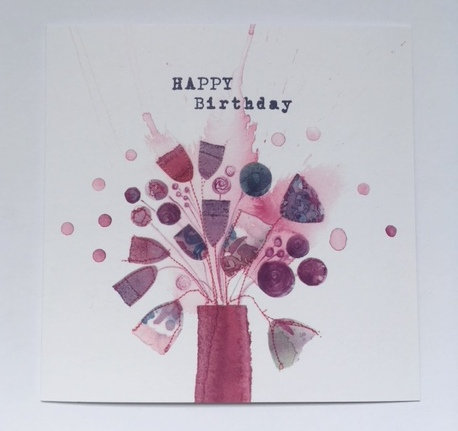 Happy Birthday Card -Pink Vase
