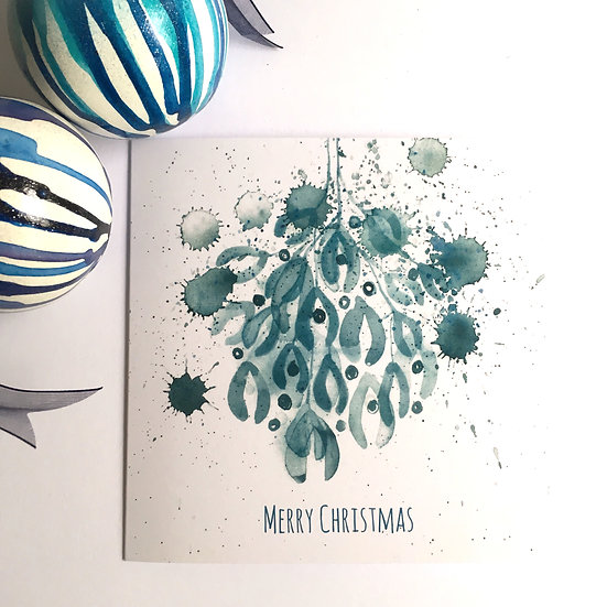 Christmas Cards Blue Mistletoe