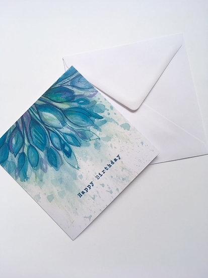 Happy Birthday Card- Blue Flowers