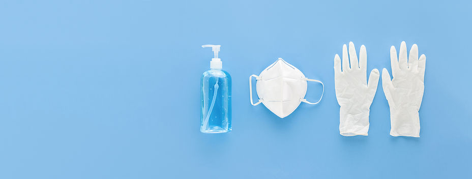 Medical gloves mask and alcohal gel for