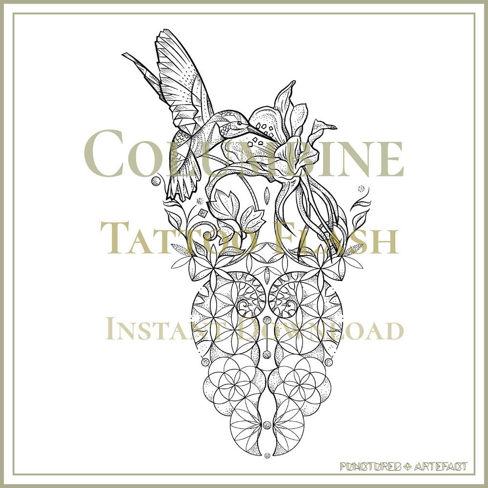 HUMMINGBIRD 7 | Columbine | Tattoo Flash | Instant Download