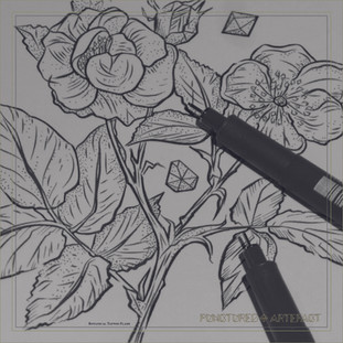 Botanical 42 | Dual Rose | Tattoo Flash | Instant Download