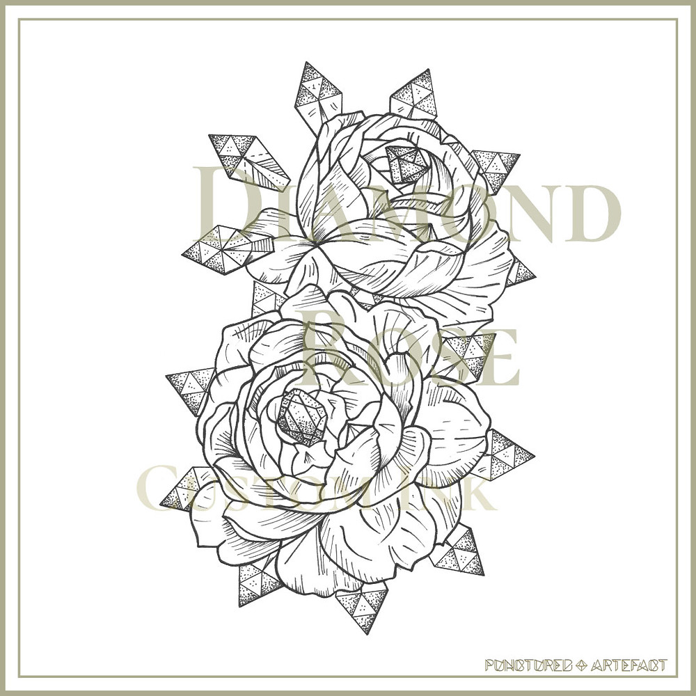 Diamond Rose Tattoo Flash Design