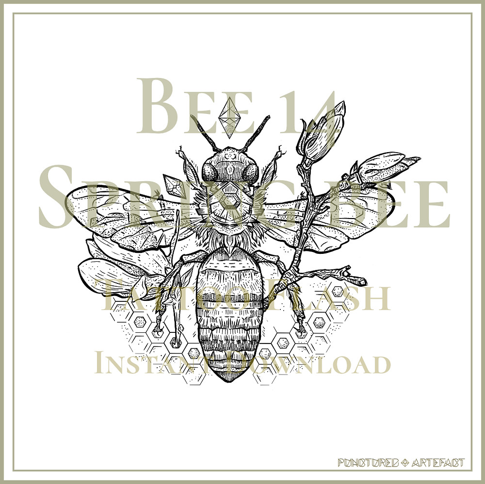 BEE 14 | Spring Honey Bee | Tattoo Flash | Instant Download | Tattoo Art