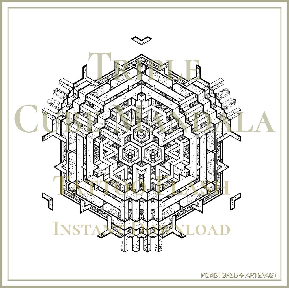 MANDALA 51 | Triple Cube | Geometric Tattoo Flash
