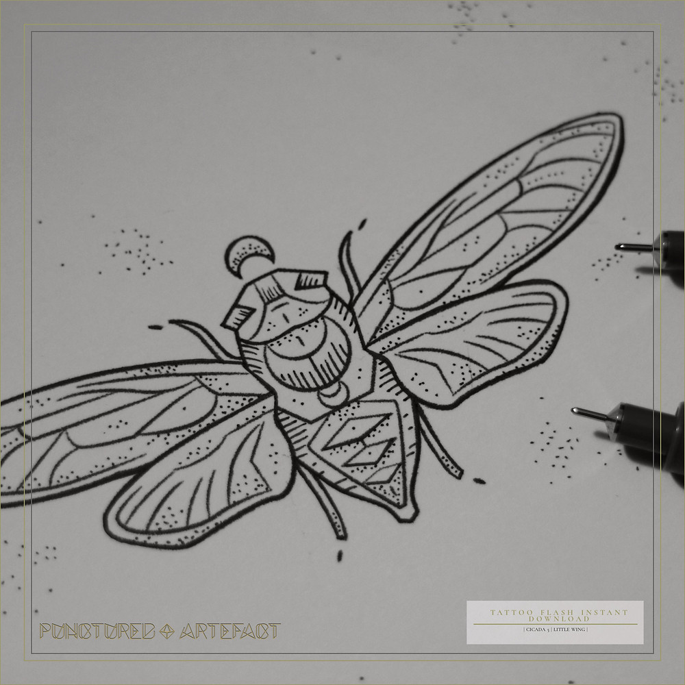 TATTOO FLASH ART | Cicada 4 | Little Wings | Instant Download | Punctured Artefact