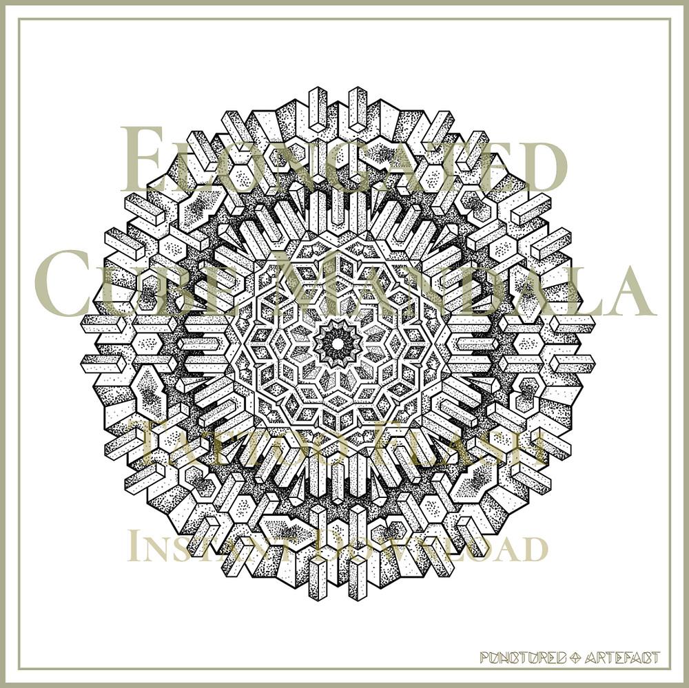 Mandala 45 | Elongated Cube | Tattoo Flash | Geometric Mandala | Instant Download