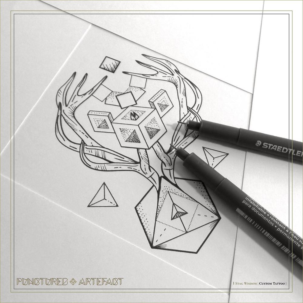 Stag Wisdom | Custom Tattoo Design | Punctured Artefact
