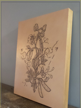 Waxed Wooden Panel | Leather Tattooed Art