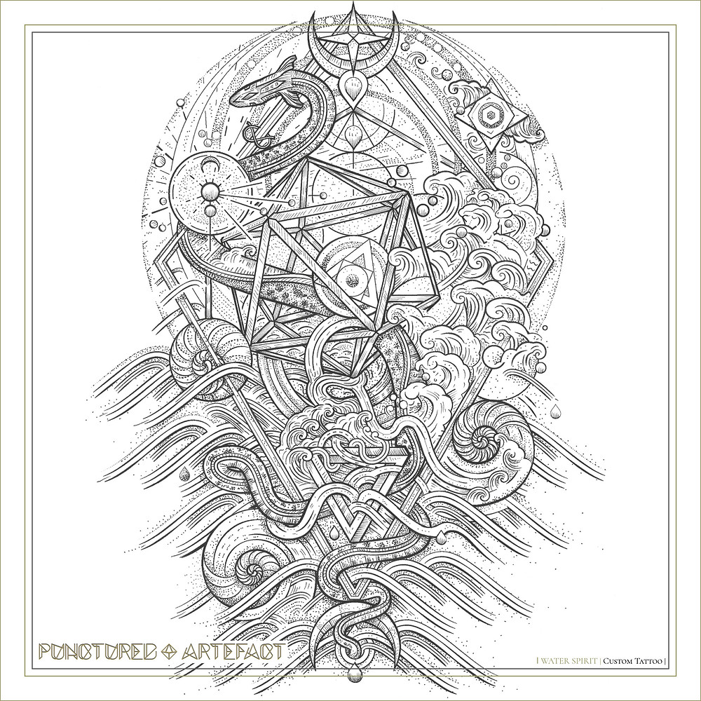 Final Tattoo Design | Water Spirit | Sacred Geometry & Nature Sleeve