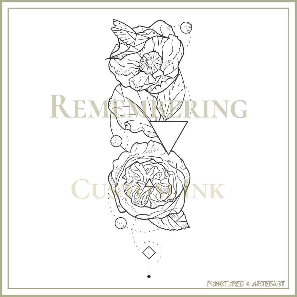 Remembering Tattoo Flash Design Poppy & Rose with hummingbird