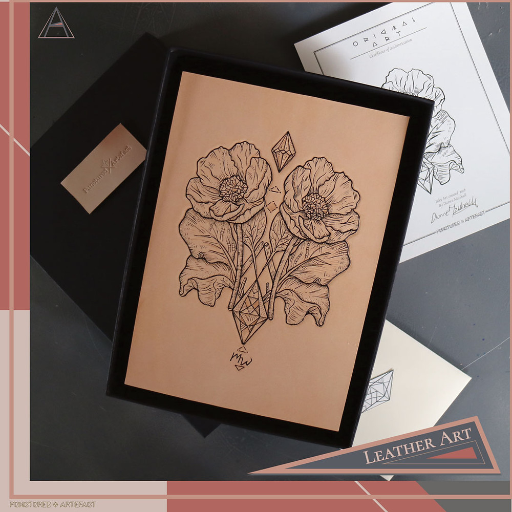 Tattooed Leather Art | Poppy | Punctured Artefact