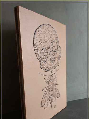 Laminated Wooden Panel | Leather Tattooed Art
