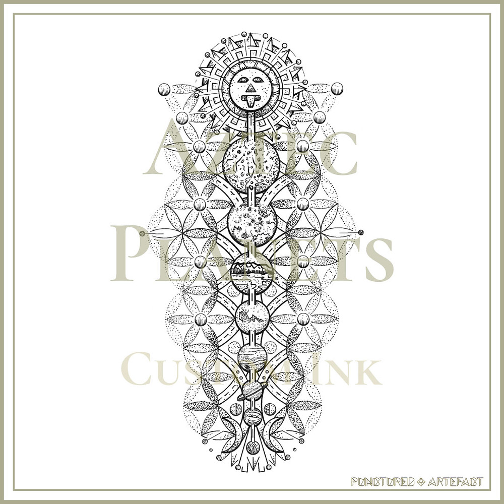 Aztec Planets | Sacred & Symbolic Tattoo Design | Punctured Artefact