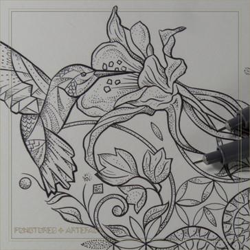 Tattoo Flash | Columbine Hummingbird | Instant Download |
