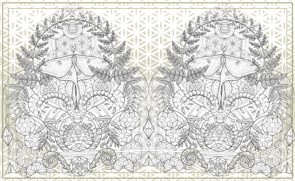 Pen & Ink Dotwork Illustration for Tattoo   Featuring a combination of Sacred Geometry & Nature Art   Blending geometric & organic elements