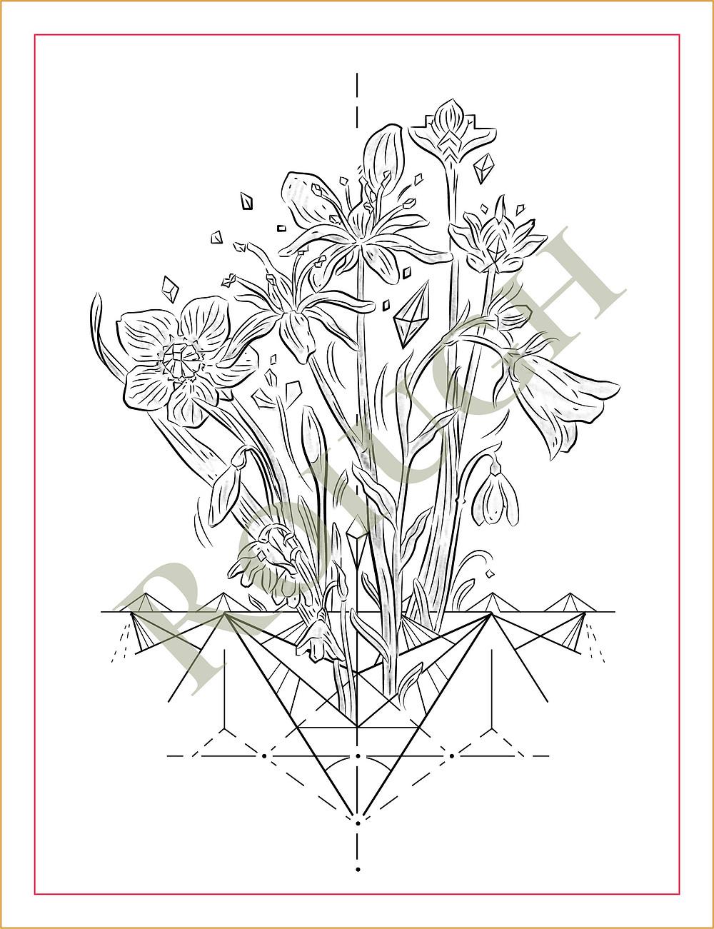 Alpine Flowers || Tattooed Leather Art || Rough Sketch