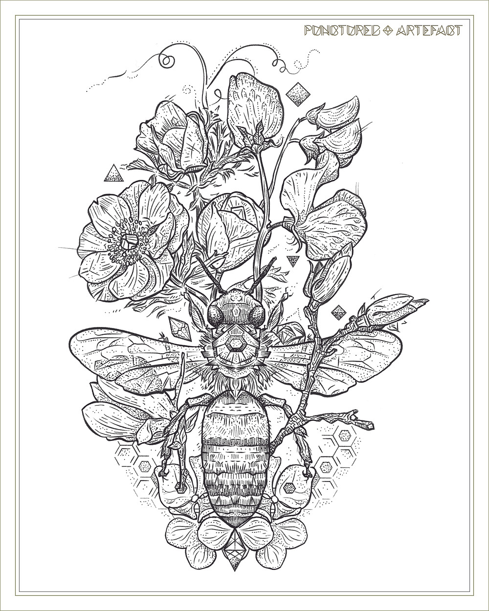 Punctured Artefact | Gratitude Bee | Drawing