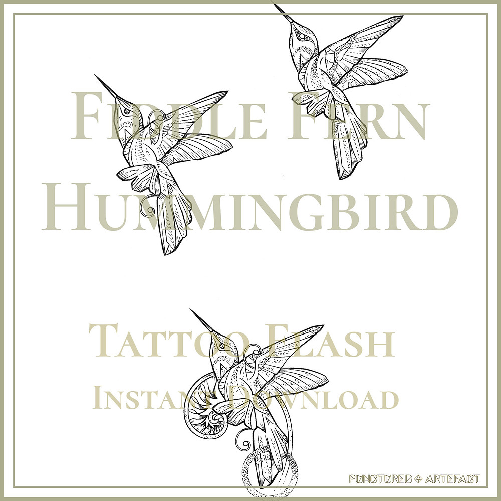 Hummingbird 8 |  Fiddle Fern | Geometric Tattoo Flash