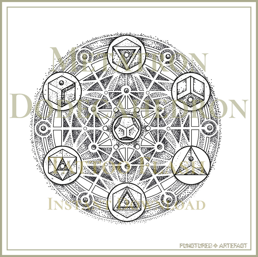 METATRON 26 | Dodecahedron | Geometric Tattoo Flash | Sacred Geometry Mandala | Instant Download