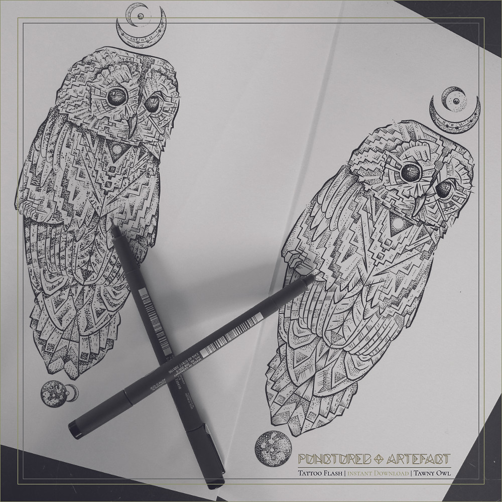 Owl 7 | Tattoo Flash | Instant Download | Tawny Owl | Turning Heads