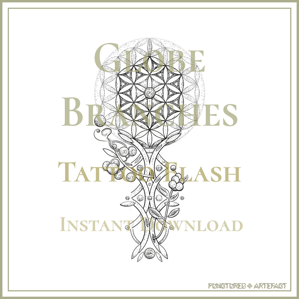 Globe Branches | Tattoo Flash Design | Sacred Geometry | Punctured Artefact