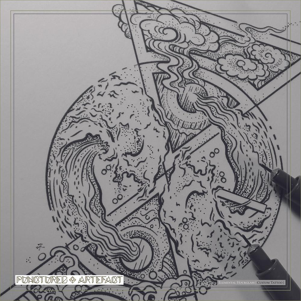 Elemental Hourglass | Custom Tattoo Design | Punctured Artefact