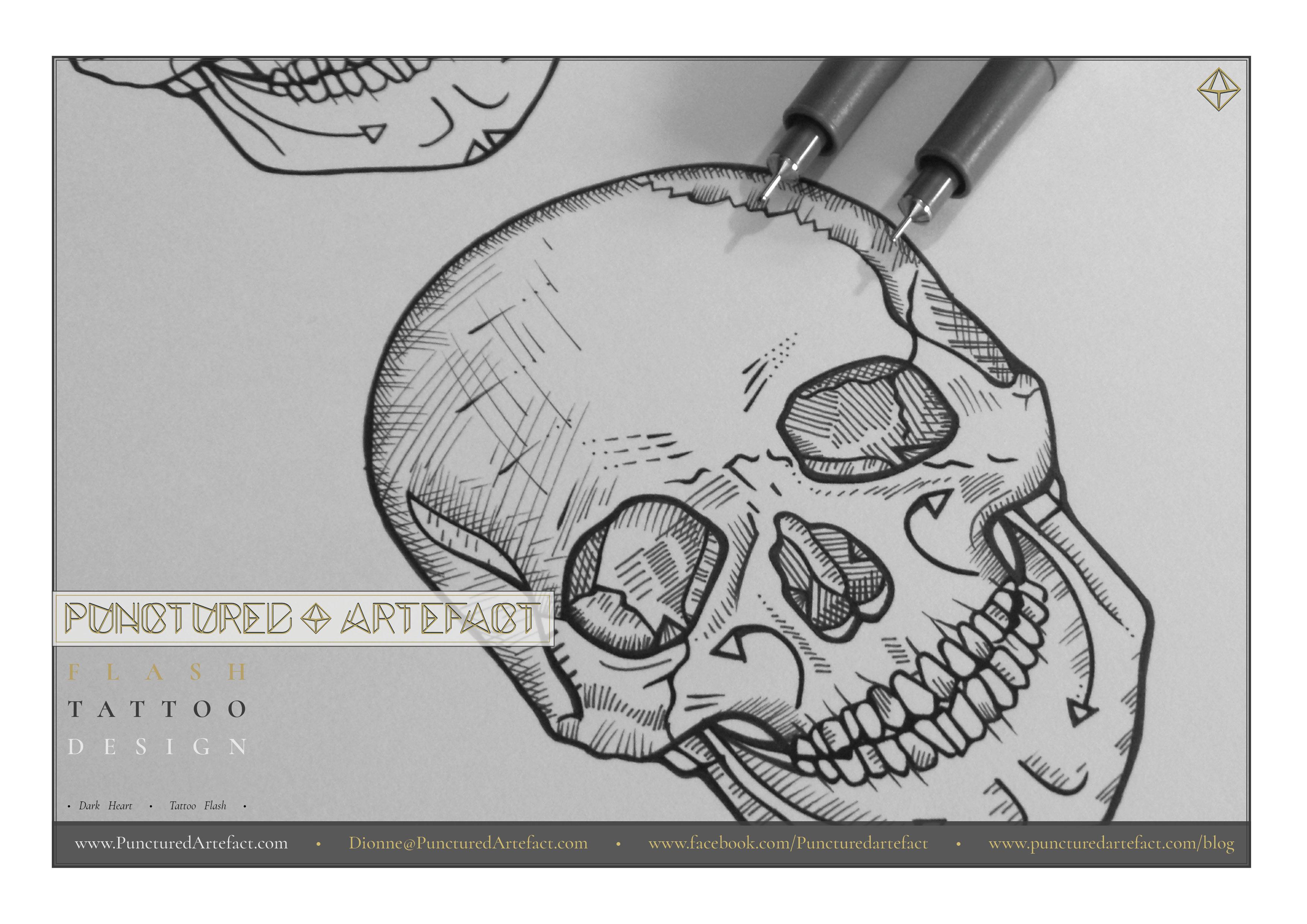 Skull 1 Dark Heart Instant Download Tattoo Flash Art
