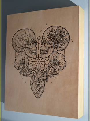 Wooden Panel | Leather Tattooed Art