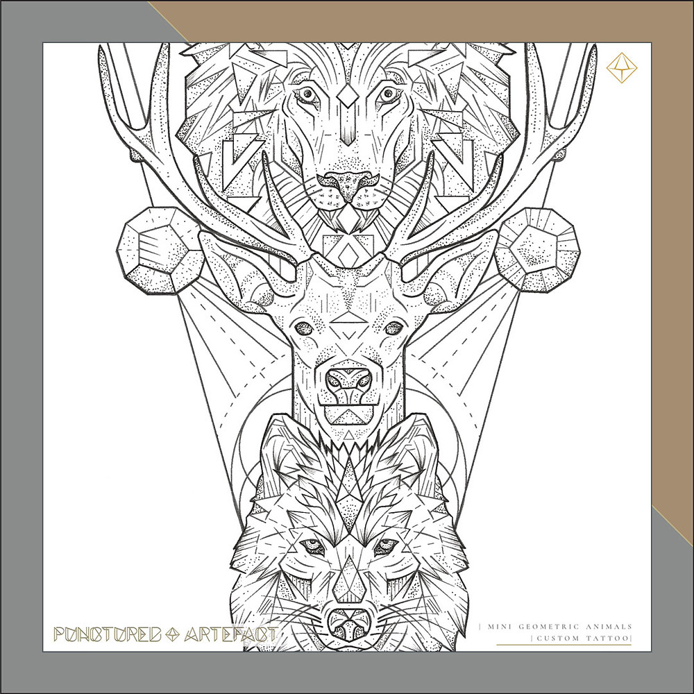 | Animal Totem | Small Geometric Animals | Tattoo Design
