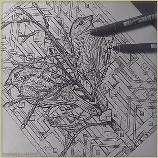 Esoteric Featured   Copper Etching   Geometric Sparrows WIP