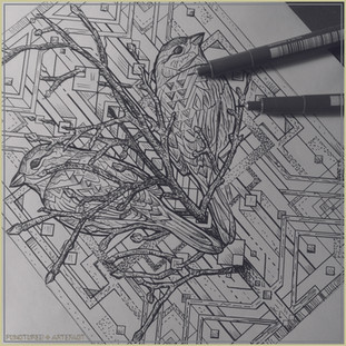 Esoteric Featured | Copper Etching | Geometric Sparrows WIP